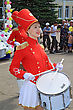 Staraya Russa, Russia - July 9: Young Drummer Girl At The Parade On City Day Staraya Russa On July 9, 2011 In Staraja Russa, Russia. stock photo