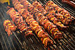 Steak And Other Meat On Barbeque. Background. Smoke. Meals, Close-up stock photo