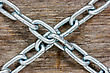 Steel Chains Crossed On The Wooden Background stock photography