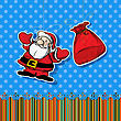Stickers With Santa And Gift Bag. Graphic Art.