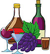 Still Life With Bottles Of Wine Glasses And Grapes stock illustration