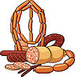 Still Life With Cooked And Smoked Sausage Products stock vector
