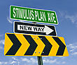 Stimulus Plan Ave And New Way Sign Post Over Blue Sky stock photo