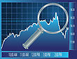 Stock Market Trend Under Magnifier Glass. Finance Concept Illustration. stock illustration