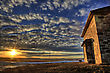 Stone House Sunset In Saskatchewan Canada Abandoned stock image