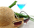 Straw Hat With Sunglasses , Cocktail And Flowers stock photo
