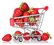Strawberries In Shopping Cart Isolated On White Background stock photography