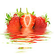 Strawberries With Water Reflection stock photo
