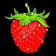 Strawberry With Drops Of Water Isolated Over Black. Large Resolution. Other Fruits Are In My Portfolio