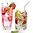 Strawberry Fruit Drinks With Ice And Lemon stock image