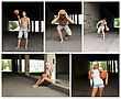 Street Basketball People Collage. Made Of Five Photos stock photography