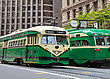 Street Of San Francisco With An Old Fashioned Green Trams stock photo