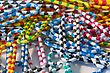 Striped Colorful Paper Clips In A Pile stock image