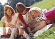 Student Study Group On The Grass stock image