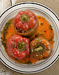Stuffed Sweet Peppers On A Plate,Top View