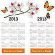 Stylish Calendar With Flowers And Butterflies For 2013. Week Starts On Monday.