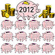 Stylish Calendar Pig Piggy Bank For 2012. Sundays First stock illustration