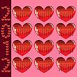 Stylish Calendar With Red Hearts For 2012. Sundays First