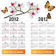 Stylish Japanese Calendar With Flowers And Butterflies For 2012. In Japanese And English.