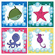 Stylized Ocean Life Icons, Cute Vector Drawings