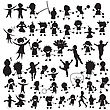 Stylized Silhouettes Of Happy Children