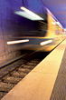 Subway Train Moving Away Fast stock image