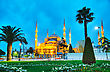Place Sultan Ahmed Mosque (Blue Mosque) In Istanbul In The Morning stock photo