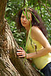 Face Summer - Beautiful Female Outdoors In The Park stock photo