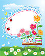 Summer Frame With Flowers In Pots, Ladybirds And Butterflies