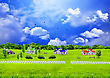 Summer Glade With Country Small Houses And Trees stock image