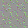 Summer Green Leaves Isolated On Grey Background. Seamless Leaves Pattern