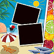 Summer Holiday Collage With Space For Photos Or Text