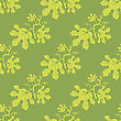 Summer Leaves Isolated On Green Background. Seamless Different Leaves Pattern stock illustration