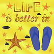 Summer Poster On Yellow Sand Background. Starfish And Sea Stones And Blue Slippers On Beach. Positive Quote About Summer Time