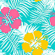 Summer Seamless Background With Blue Palm Leaves And Hibiscus Flowers. Tropical Trendy Seamless Pattern With Exotic Leaves And Flowers. Textile Pattern
