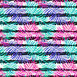 Summer Seamless Background With Bright Palm Leaves On Ink Striped Background. Tropical Trendy Seamless Pattern With Exotic Palm Leaves. Textile Pattern