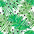 Summer Seamless Background With Green Palm Leaves On Polka Dot Background. Tropical Trendy Seamless Pattern With Exotic Palm Leaves. Textile Pattern