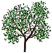 Summer Tree With Green Leaves. EPS 10 Vector Illustration stock vector
