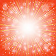 Sun Burst On Orange Background. Ray Background With Stars