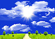 Air Sun In Clouds In The Blue Sky And A Green Glade stock illustration