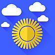 Sun Icon Isolated On Blue Sky Background. Long Shadow