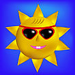 Sun With Sunglasses Icon Isolated On Blue Sky Background
