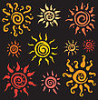 Sun Symbols Collection. Vector Hand Drawn Illustration