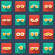Sunglasses And Glasses Icons.Vector Flat Design Symbols
