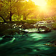 Sunset On The Mountain River, Environmental Backgrounds stock photography