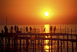 Ocean Backgrounds Sunset Over Pier stock image