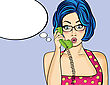 Surprised Pop Art Woman Chatting On Retro Phone . Comic Woman With Speech Bubble. Pin Up Girl. Vector Illustration stock vector