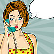 Surprised Pop Art Woman Chatting On Retro Phone . Comic Woman With Speech Bubble. Pin Up Girl. Vector Illustration