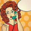 Surprised Pop Art Woman Chatting On Retro Phone . Comic Woman With Speech Bubble. Pin Up Girl. Vector Illustration stock illustration