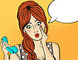 Surprised Pop Art Woman With Retro Phone, Who Tells Her Secrets. Pin-up Girl. Vector Illustration